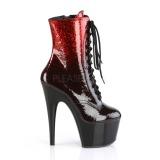 rød glitter 18 cm ADORE-1020OMB pole dancing ankelstøvletter