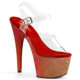 rød glitter 18 cm Pleaser ADORE-708OMBRE pole dancing sko