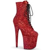 rød glitter 20 cm FLAMINGO-1020GWR høyhælte ankelstøvletter - pole dance støvletter