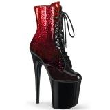 rød glitter 20 cm FLAMINGO-1020OMB høyhælte ankelstøvletter - pole dance hæler