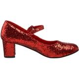 rød glitter 5 cm SCHOOLGIRL-50G pumps mary jane