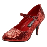 rød glitter 7,5 cm GLINDA-50G pumps mary jane