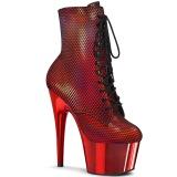 rød krom 18 cm ADORE-1020HFN høyhælte ankelstøvletter - pole dance støvletter