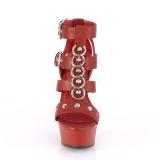 rød kunstlær 15 cm DELIGHT-658 pleaser sko med høye hæler