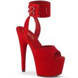 rød kunstlær 18 cm ADORE-791FS pleaser høye hæler med ankel stropper