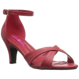 rød kunstlær 7,5 cm DIVINE-435 store størrelser sandaler dame