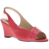 rød kunstlær 7,5 cm KIMBERLY-01SP store størrelser sandaler dame