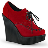 rød kunstlær CREEPER-302 wedge creepers sko med kilehæler