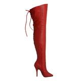 rød lær 13 cm LEGEND-8899 lårhøye støvler til menn