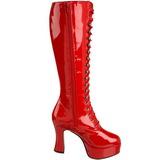 rød lakk 10,5 cm EXOTICA-2020 høye dame støvler med snøring