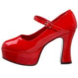 rød lakk 11 cm MARYJANE-50 Mary Jane platå pumps høy hæl