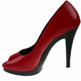 rød lakk 12 cm FLAIR-474 platå pumps åpen tå sko