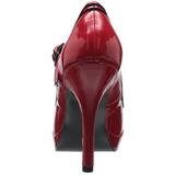rød lakk 12 cm PINUP SECRET-15 Mary Jane platå pumps høy hæl