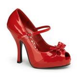 rød lakk 12 cm retro vintage CUTIEPIE-08 platå pumps åpen tå sko