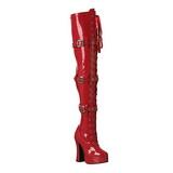 rød lakk 13 cm ELECTRA-3028 lårhøye støvler