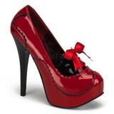 rød lakk 14,5 cm Burlesque BORDELLO TEEZE-01 platå pumps høy hæl