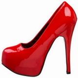rød lakk 14,5 cm Burlesque BORDELLO TEEZE-06 platå pumps høy hæl