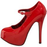 rød lakk 14,5 cm Burlesque BORDELLO TEEZE-07 platå pumps høy hæl