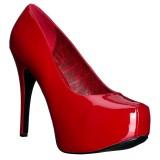 rød lakk 14,5 cm Burlesque TEEZE-06W pumps for brede føtter til menn