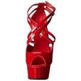 rød lakk 15 cm Pleaser DELIGHT-612 platå pumps høy hæl
