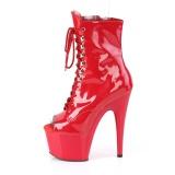rød lakk 18 cm ADORE-1021 ankelstøvletter med platåsåle til dame