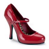 rød lakkert 12 cm PRETTY-50 dame pumps sko flate hæl