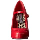 rød lakkert 12 cm rockabilly PRETTY-50 dame pumps med lave hæl