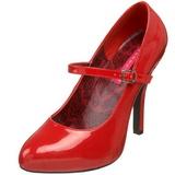 rød lakkert 12 cm rockabilly TEMPT-35 dame pumps med lave hæl