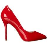 rød lakkert 13 cm AMUSE-20 dame pumps sko stiletthæl
