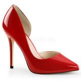 rød lakkert 13 cm AMUSE-22 klassiske pumps sko til dame