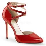 rød lakkert 13 cm AMUSE-25 høye pumps fest sko med hæl