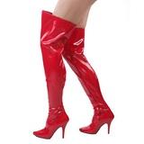 rød lakkert 13 cm SEDUCE-3000 lårhøye støvler til menn