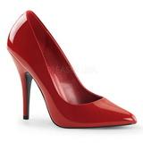 rød lakkert 13 cm SEDUCE-420 dame pumps sko flate hæl