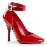 8fe63e66 rød lakkert 13 cm SEDUCE-431 dame pumps sko flate hæl