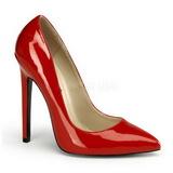 rød lakkert 13 cm SEXY-20 dame pumps sko flate hæl