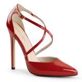 rød lakkert 13 cm SEXY-26 klassiske pumps sko til dame