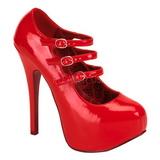 rød lakkert 14,5 cm TEEZE-05 høye damesko med høy hæl