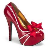 rød lakkert 14,5 cm TEEZE-14 høye damesko med høy hæl