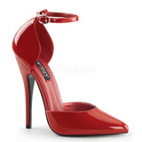 rød lakkert 15 cm DOMINA-402 dame pumps sko flate hæl