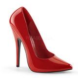 rød lakkert 15 cm DOMINA-420 spisse pumps med stiletthæler