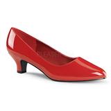 rød lakkert 5 cm FAB-420W dame pumps sko flate hæl