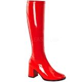 rød lakkert 7,5 cm GOGO-300 høye damestøvler til menn