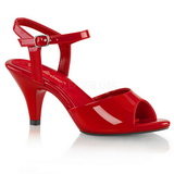 rød lakkert 8 cm BELLE-309 dame sandaletter lavere hæl
