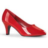 rød lakkert 8 cm DIVINE-420W dame pumps sko flate hæl
