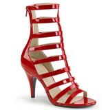 rød lakklær 10 cm DREAM-438 store størrelser ankelstøvletter dame