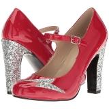 rød lakklær 10 cm QUEEN-02 store størrelser pumps sko