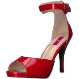 rød lakklær 12,5 cm EVE-02 store størrelser sandaler dame
