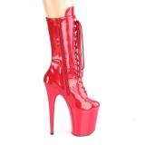 rød lakklær 20 cm FLA-1050 ekstremt ankelstøvletter høye hæler - platå støvletter