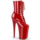 rød lakklær 23 cm INFINITY-1020 ekstremt ankelstøvletter høye hæler - platå støvletter