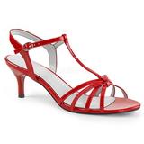 rød lakklær 6 cm KITTEN-06 store størrelser sandaler dame